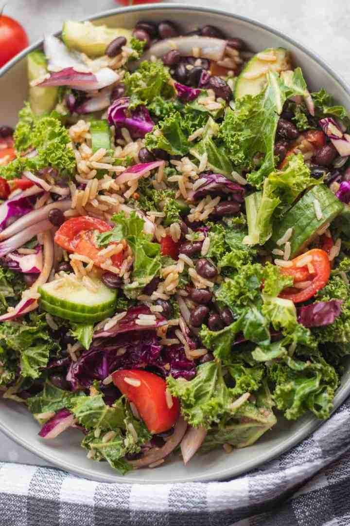Vegan winter black bean salad with rice and kale