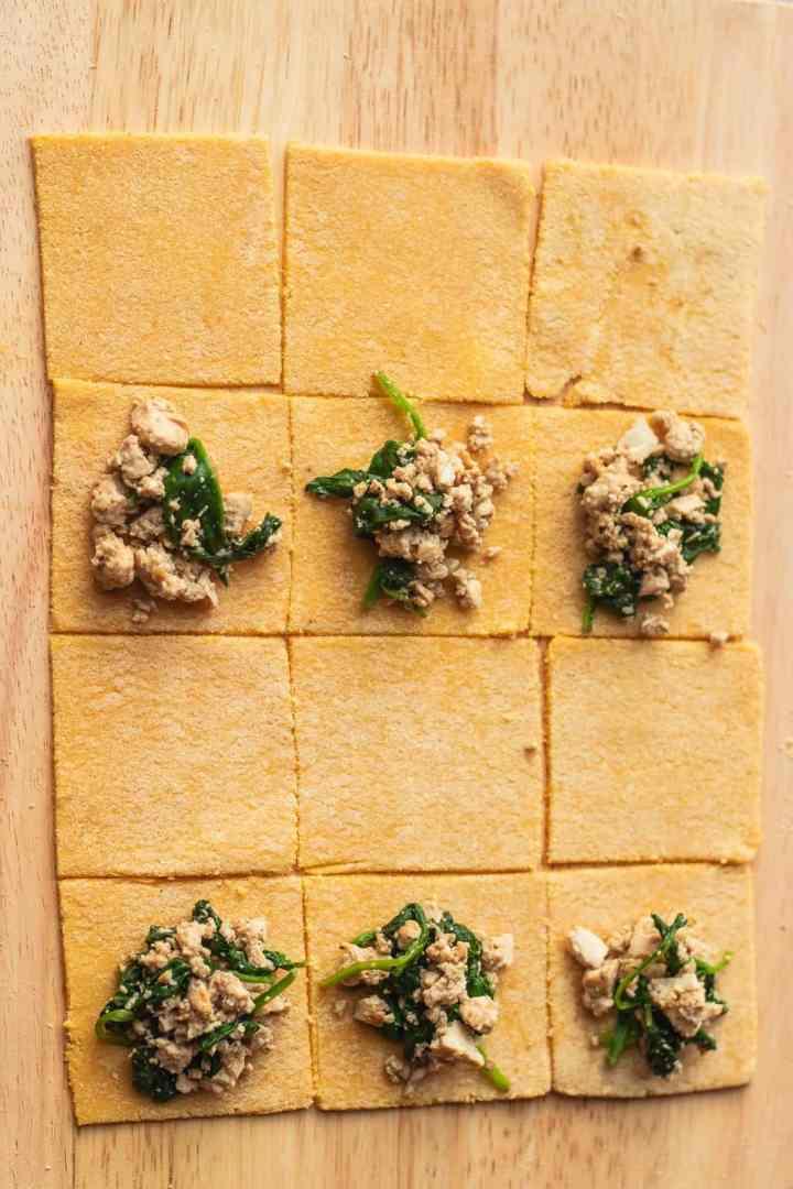 Homemade vegan ravioli dough with tofu filling