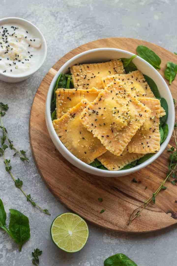 Homemade vegan ravioli with tofu and spinach