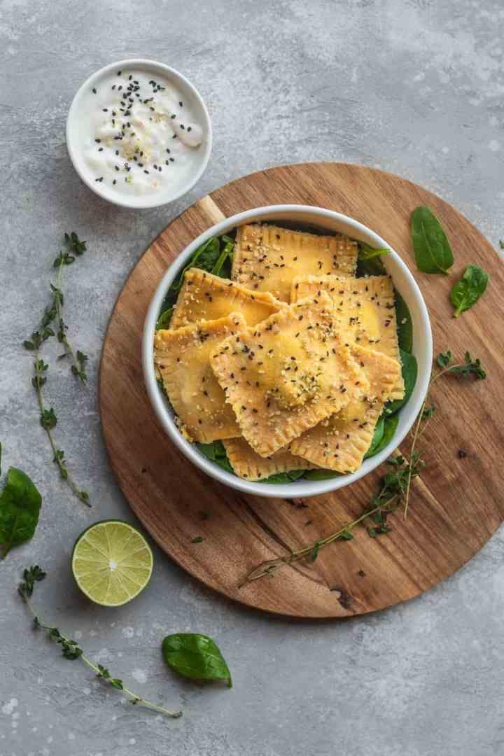 Homemade vegan ravioli in a bowl
