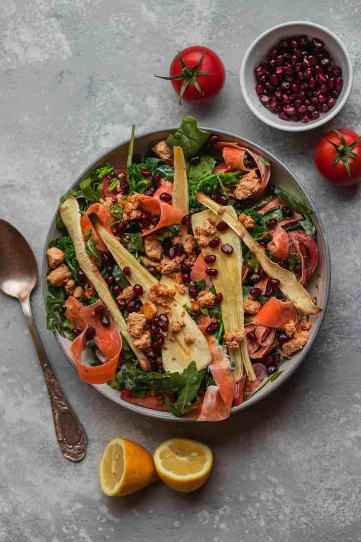 Parsnip and tofu vegan winter salad