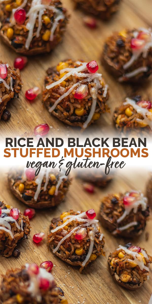 Rice black bean stuffed mushrooms vegan gluten-free