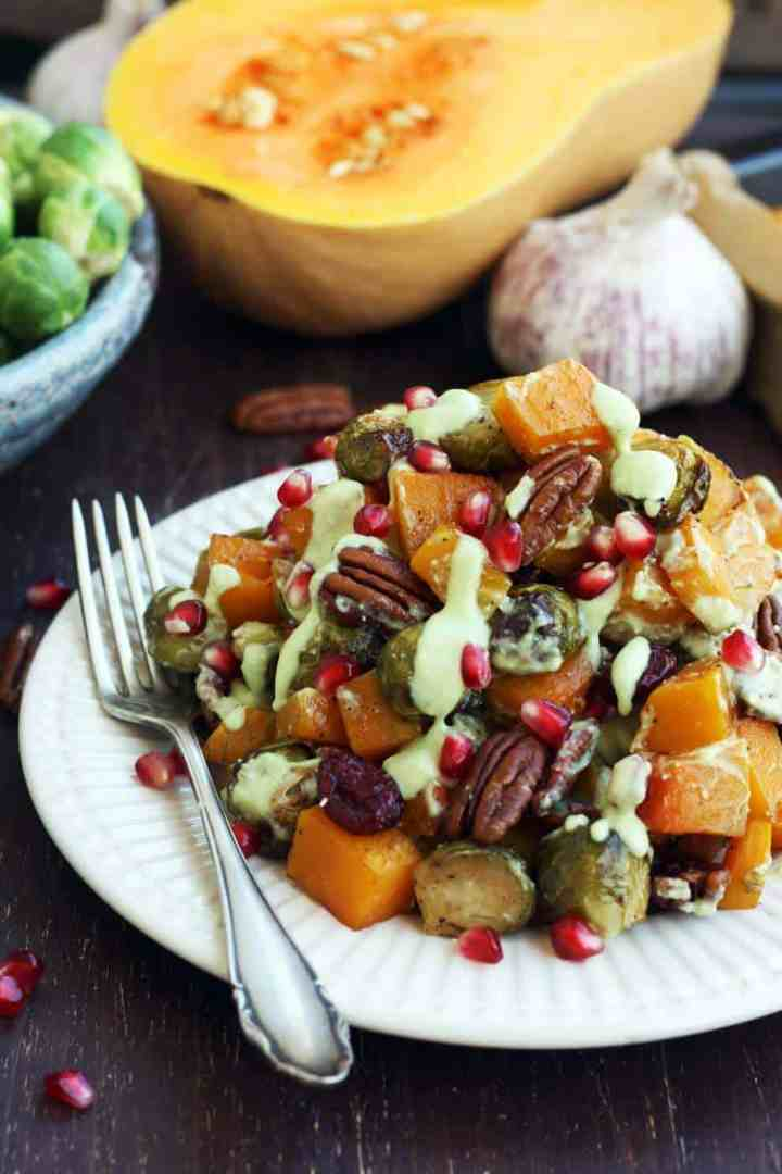 Roasted Brussels sprouts with butternut squash Happy Kitchen Rocks