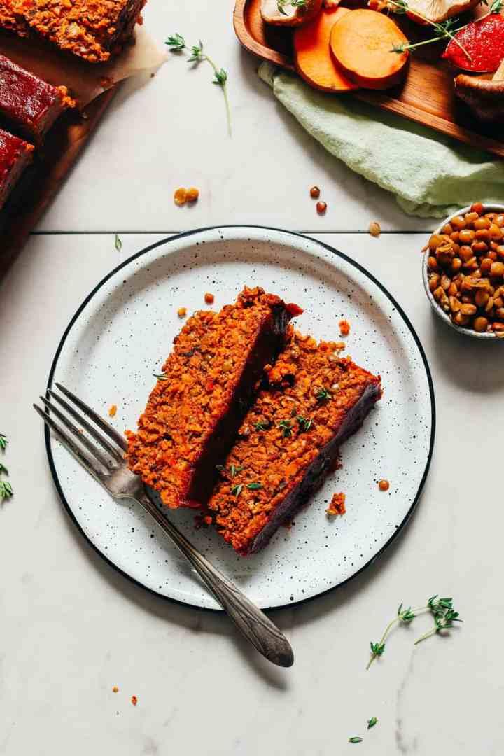 Vegan lentil nut meatloaf Minimalist Baker