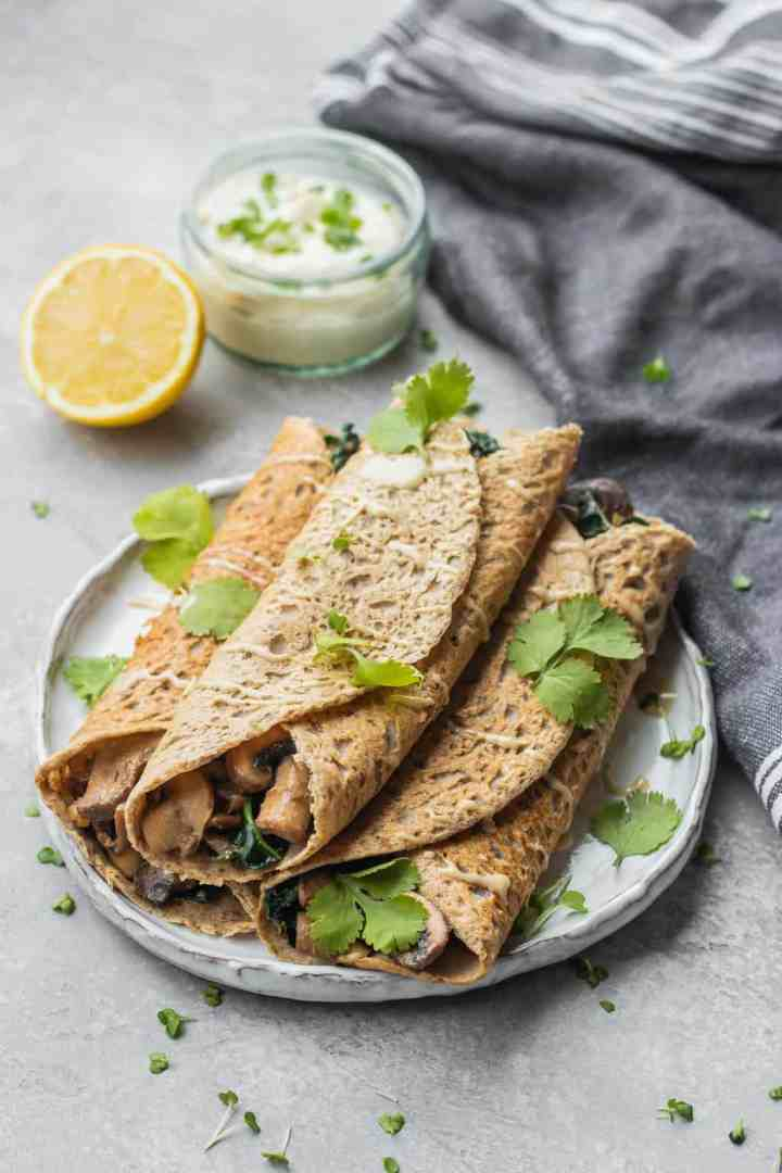 Savoury crepes with mushrooms and kale vegan gluten-free