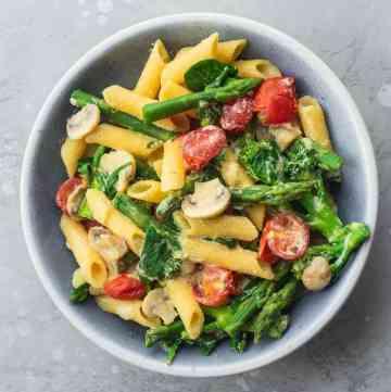 Creamy tofu pasta vegan gluten-free