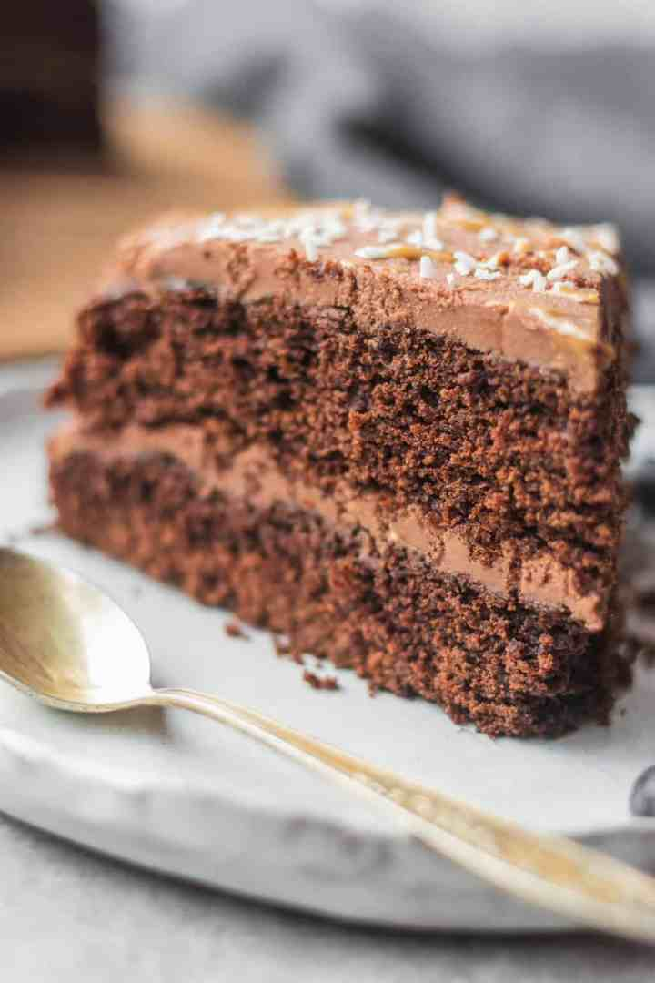Closeup of gluten-free vegan chocolate cake