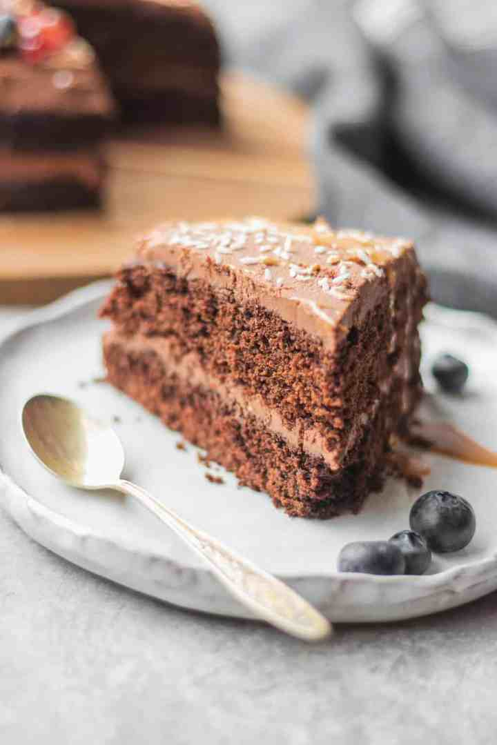 Vegan chocolate cake with peanut butter on a plate