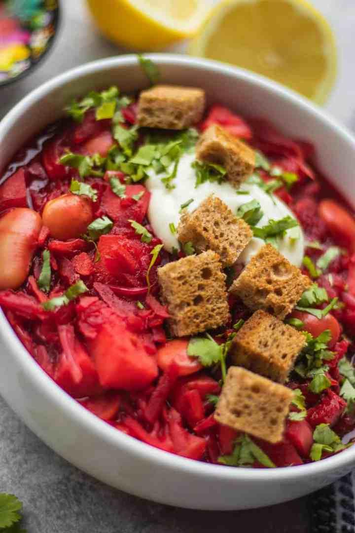 Vegan borscht with potatoes and croutons