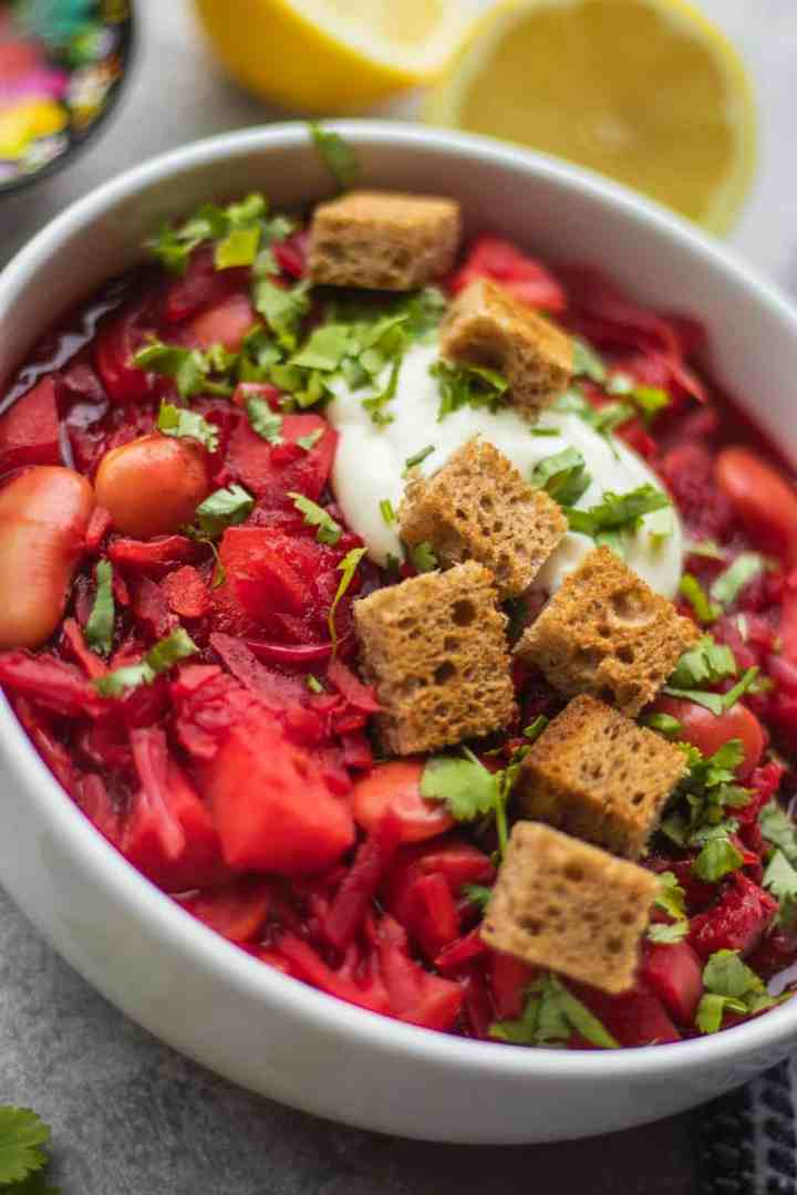 Vegan borscht with potatoes and croutons