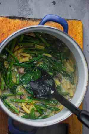 Vegan pasta dish in a saucepan