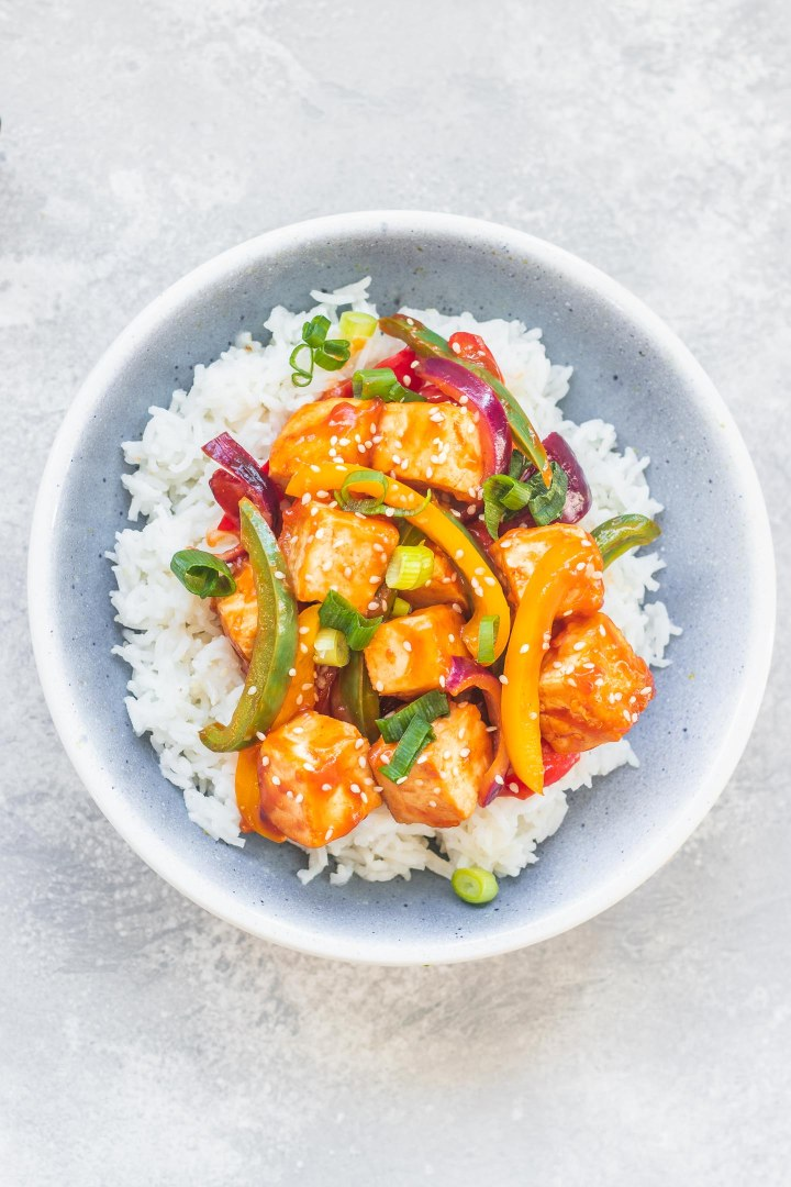 Sweet and sour tofu vegan recipe