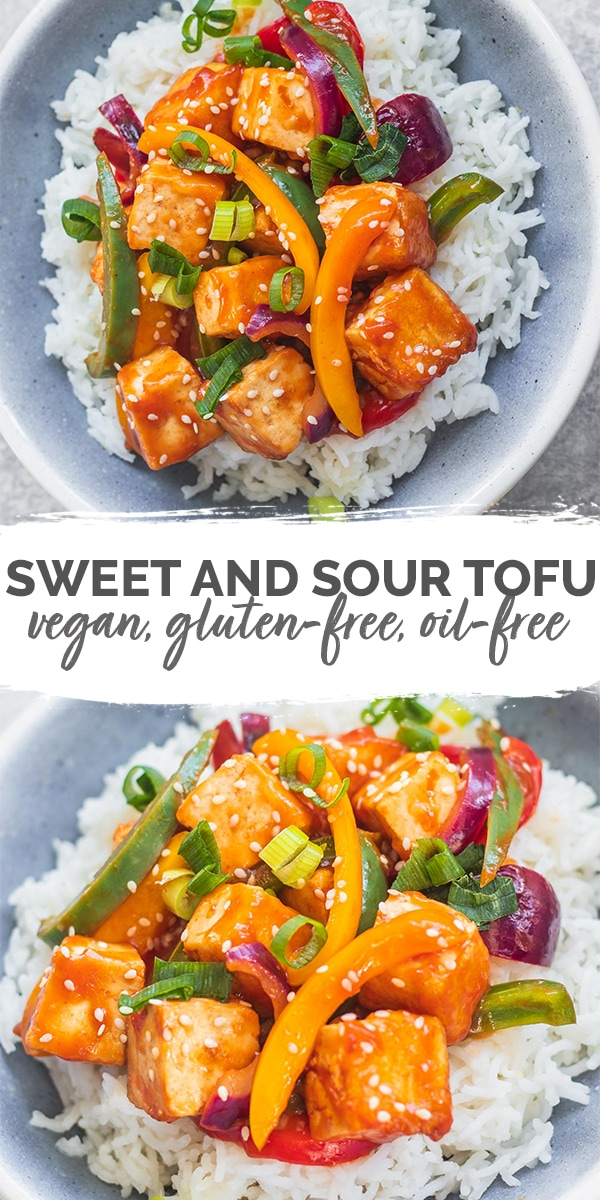 Sweet and sour tofu vegan gluten-free oil-free Pinterest