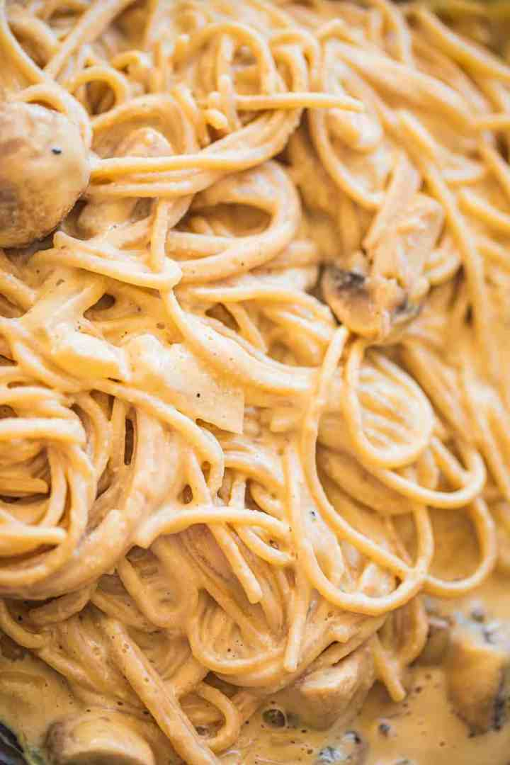 Vegan Alfredo sauce with spaghetti