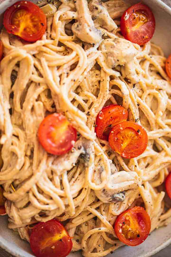 Closeup of vegan pasta with a creamy sauce
