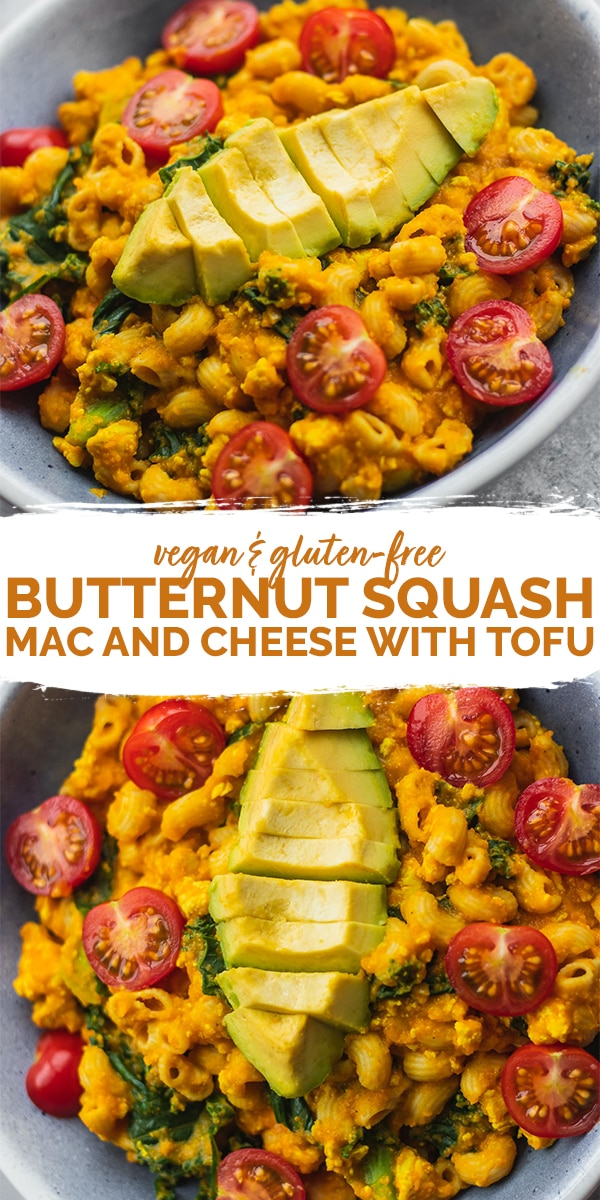 Vegan butternut squash mac and cheese with tofu gluten-free Pinterest