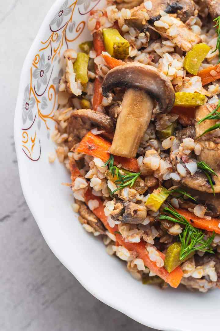 Closeup of buckwheat porridge