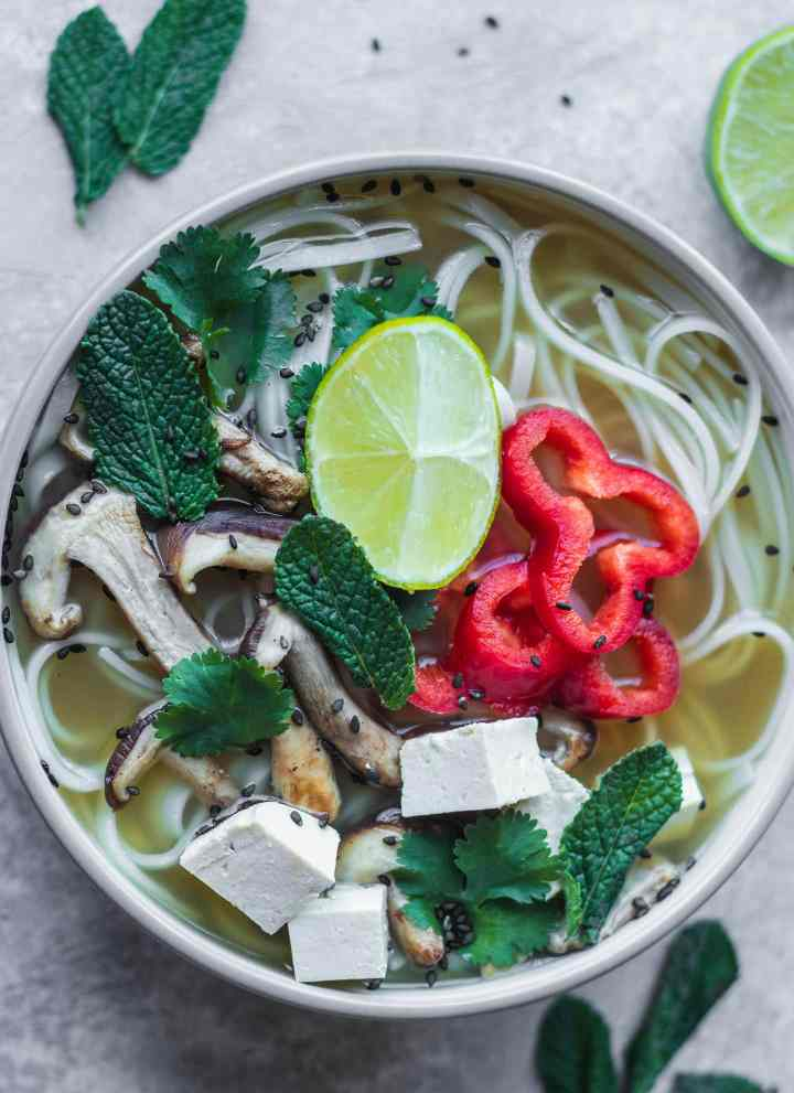 Vegan Pho Recipe (Gluten-free, Oil-free)