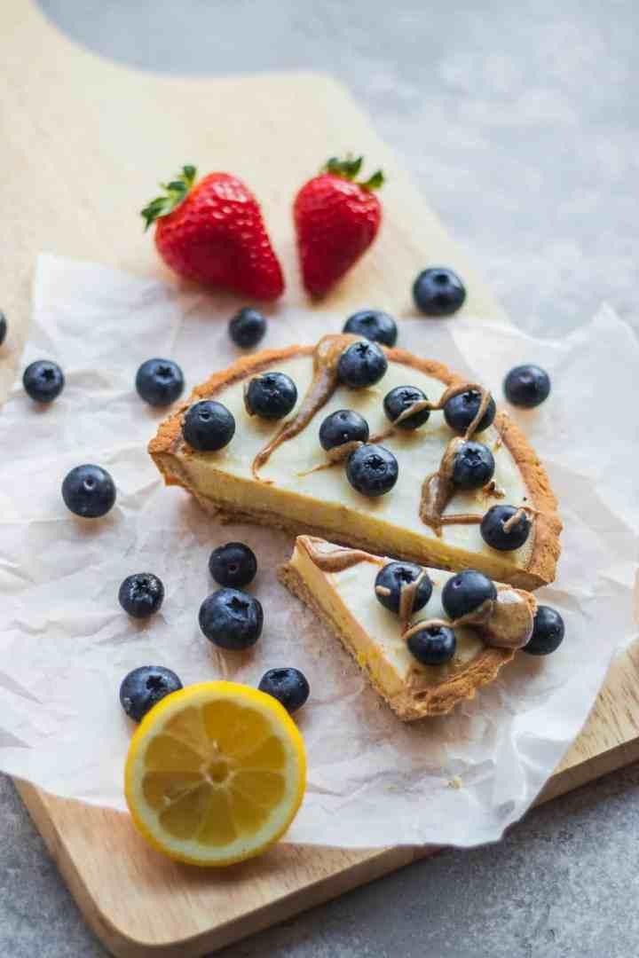 Vegan tart with blueberries