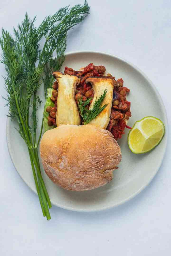 Overhead of vegan sloppy joe with mushrooms