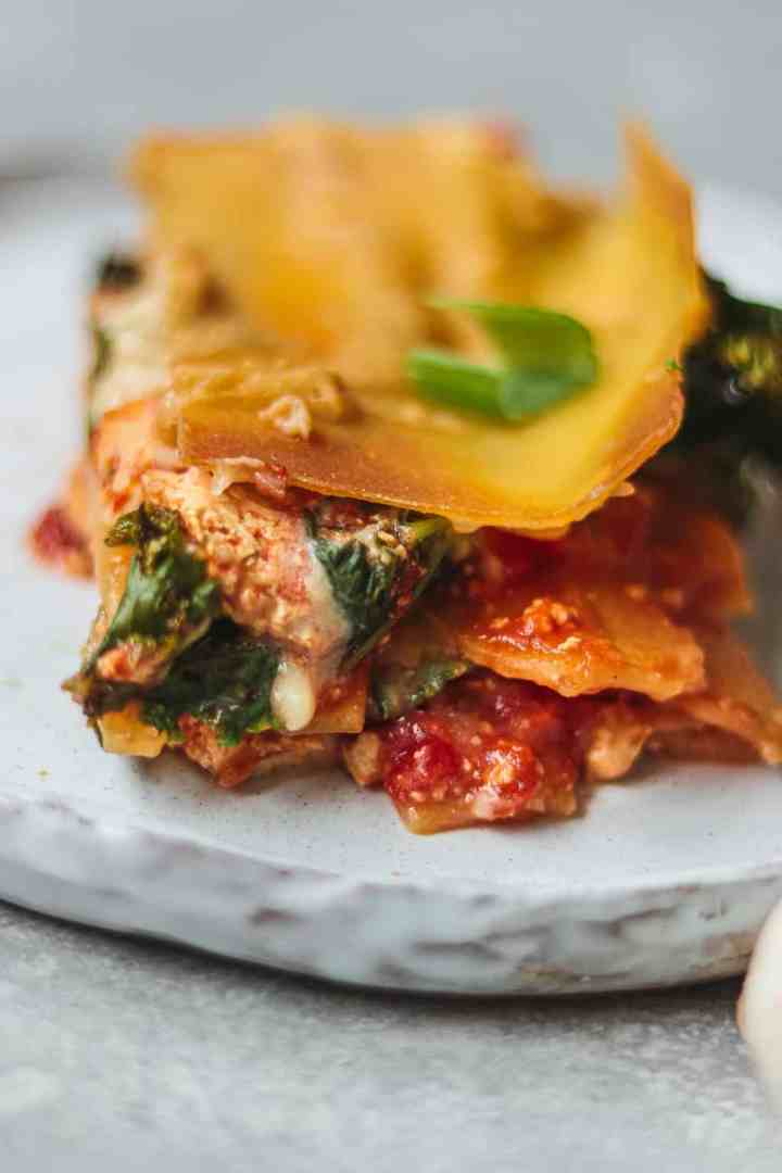 Dairy-free lasagna on a white plate