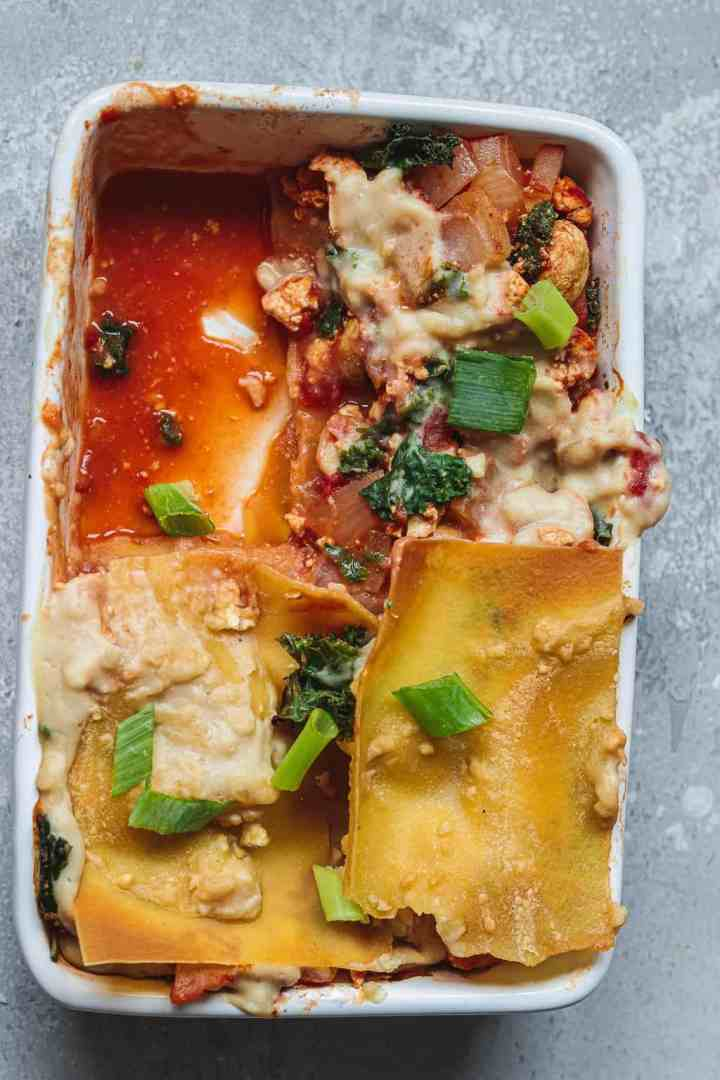 Vegan lasagna in a white dish