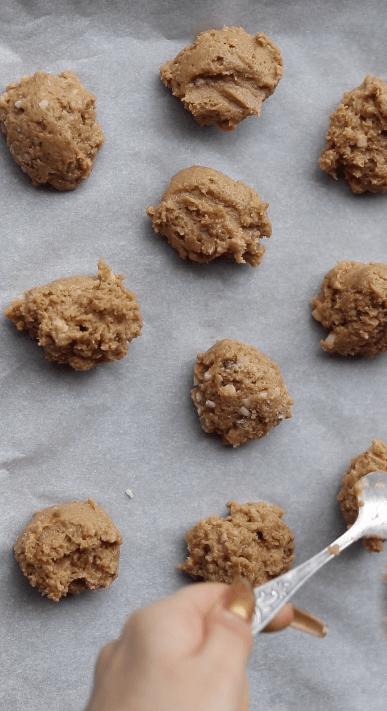 Vegan cookie dough on baking sheet