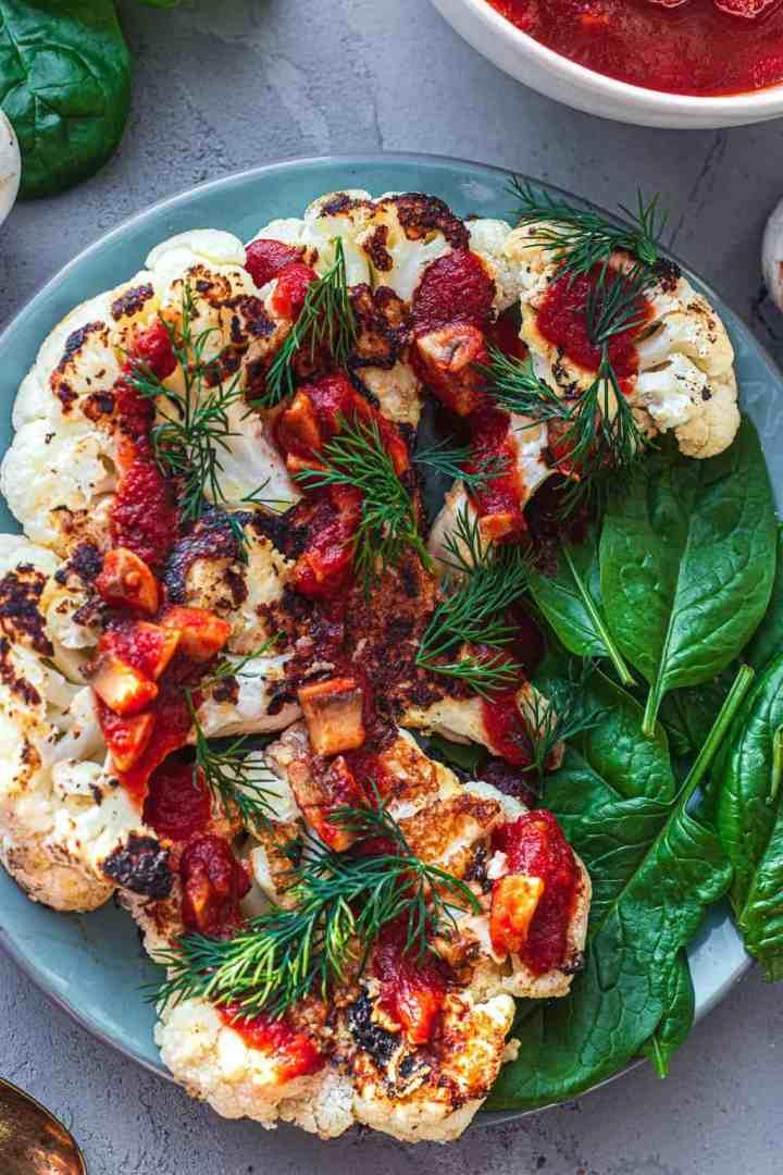 Vegan tahini cauliflower steak gluten-free