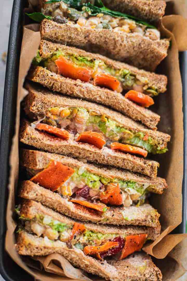 Chickpea sandwich with carrots and avocado