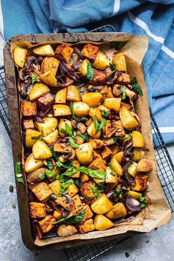 Vegan sheet pan potatoes and tofu