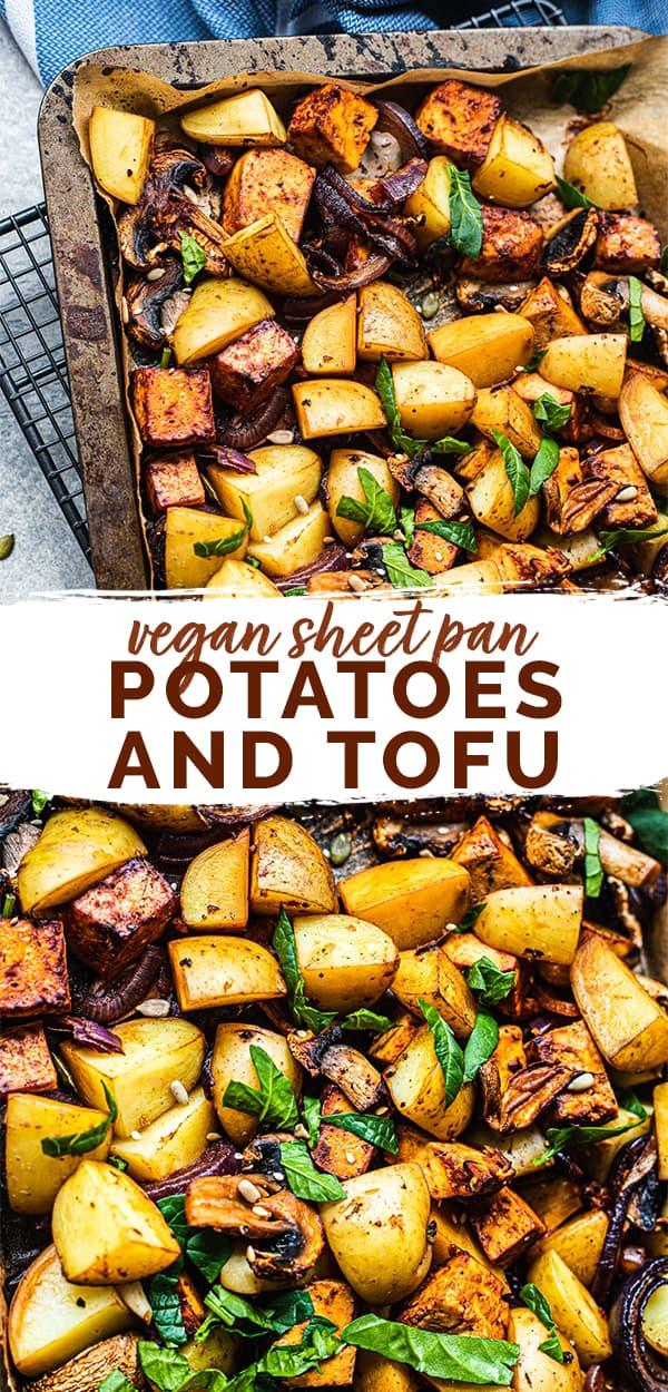 Vegan sheet pan potatoes and tofu Pinterest