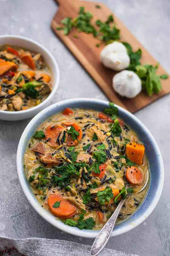 Bowl of vegan rice soup with jackfruit