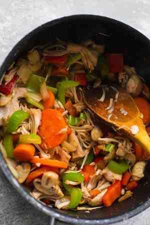 Vegetables and jackfruit in a saucepan