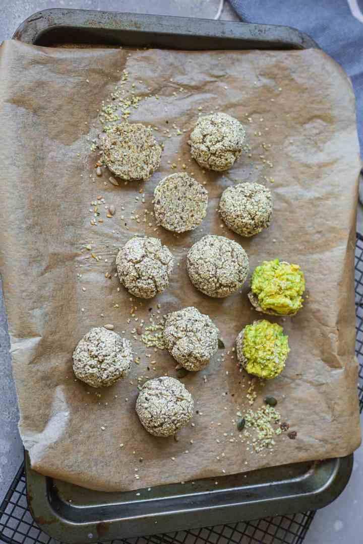 Vegan bread rolls on a baking tray
