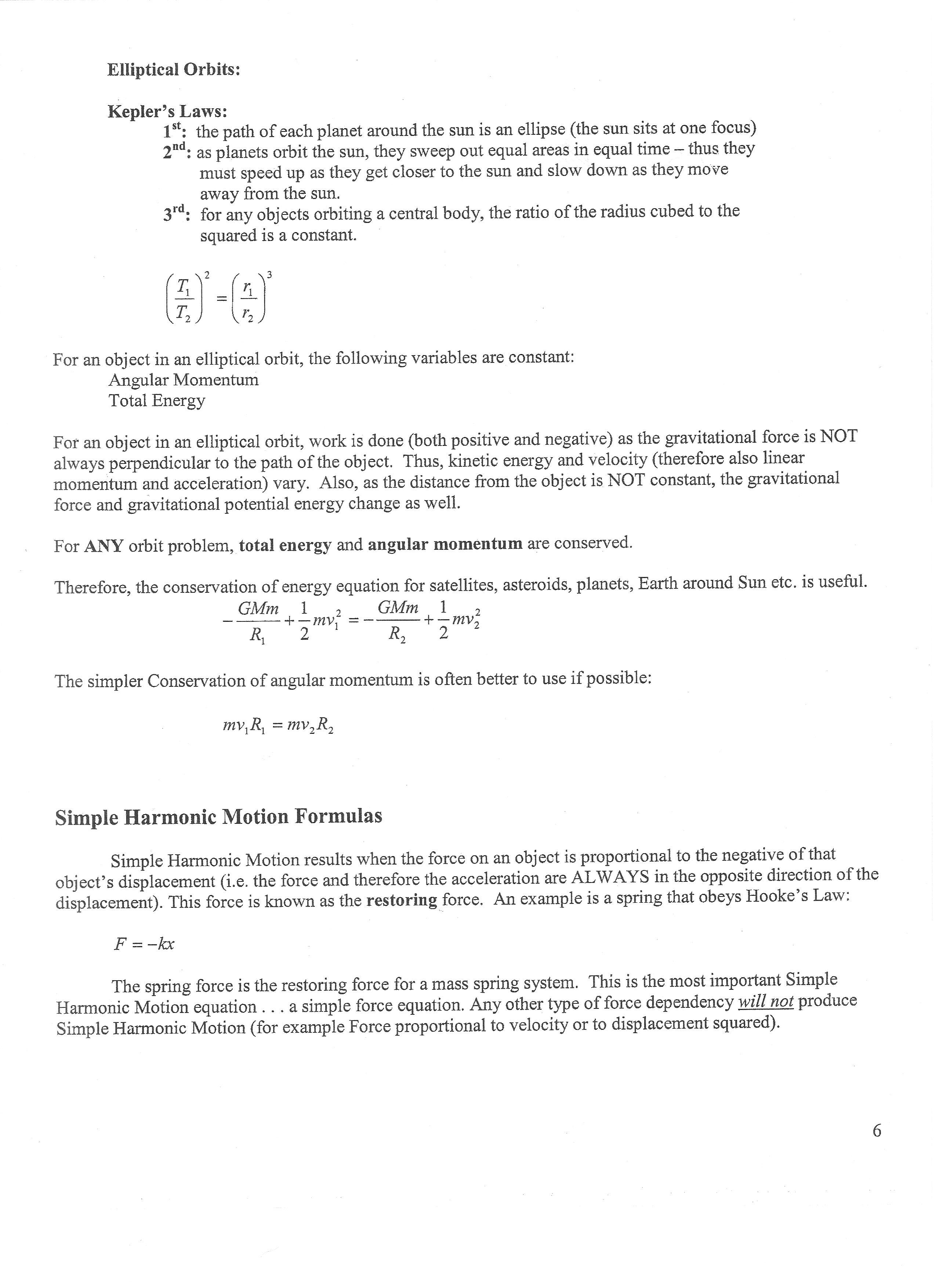 Advanced Placement Physics Equations