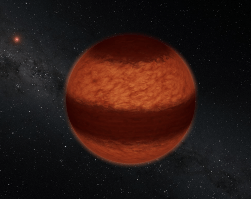 Reddish globe with a wide dark band, and stars in the background.