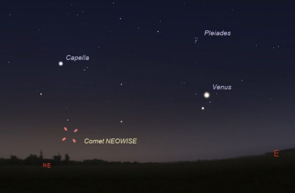 Dark sky with Venus and Capella labeled, and four tick marks around location of comet.