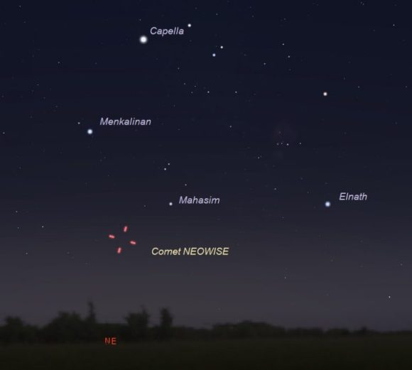 Wide-sky chart showing Comet NEOWISE on the morning of July 8, 2020.