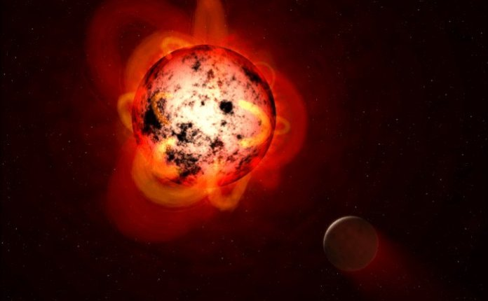 Reddish star with large orange flares all over it, and planet nearby.