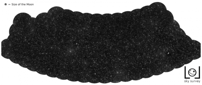 Map with black background and very many white dots.
