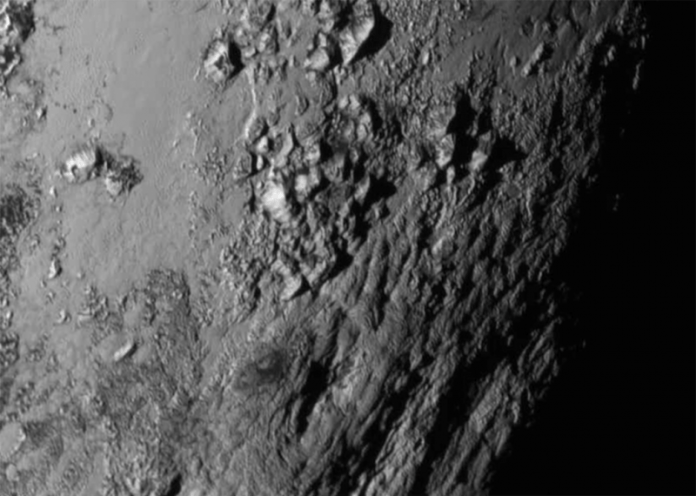 Mountains in black and white on Pluto.