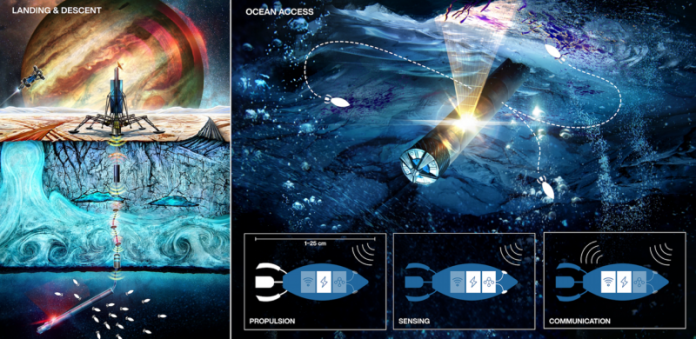Diagrams and illustrations of small robotic probes in alien oceans.