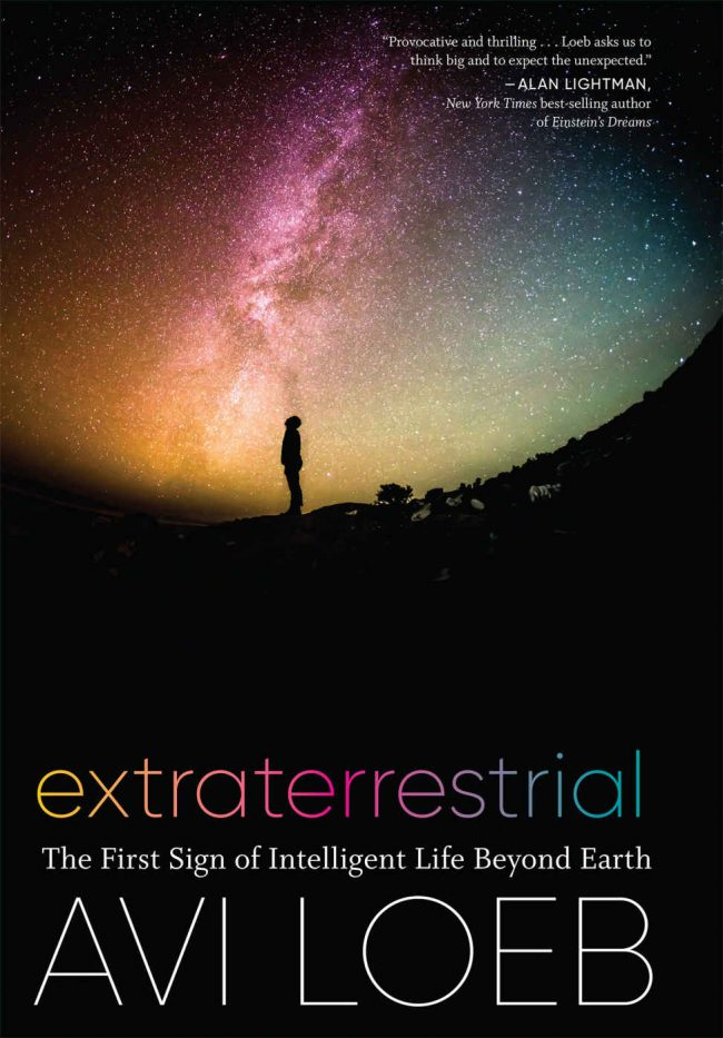 A book cover, showing a human standing under the Milky Way, looking up.