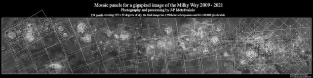 Grayscale image of a Milky Way panorama with many outlined squares overlapping each other.