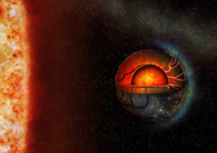 Cross-section of planet with red molten interior and channels from core to surface.