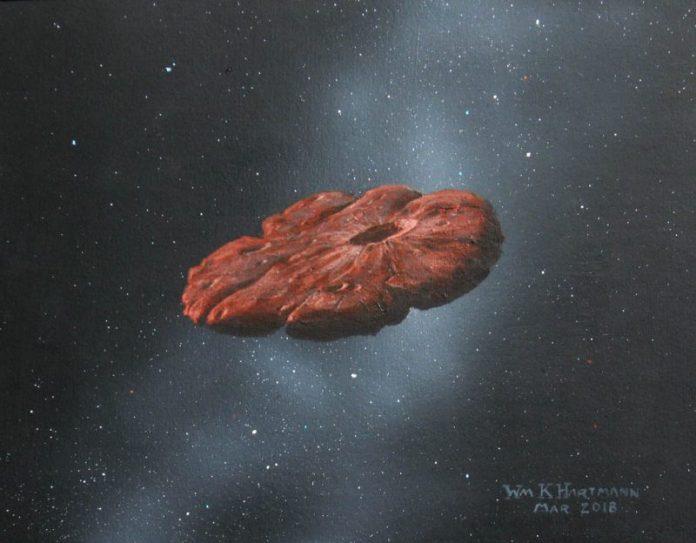 अंतरिक्ष में तैरते हुए फ्लैट पैनकेक के आकार की चट्टान।