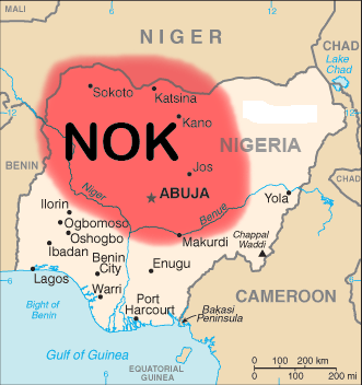 A map of West Africa, centered on Nigeria, with a large, fuzzy red nearly circular area covering about half of Nigeria.