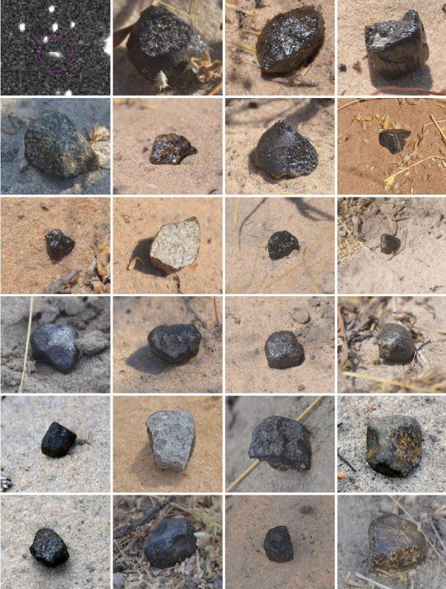 23 को ज्यादातर काले रंग की चट्टानों और एक छोटी सफेद लकीर के साथ सितारों की एक तस्वीर दिखाते हुए।