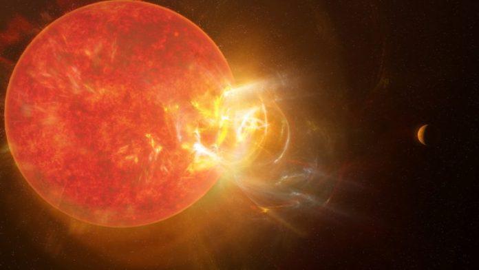 एक बड़ा लाल तारा, जिसमें एक तरफ से विशालकाय भड़क रहा है।