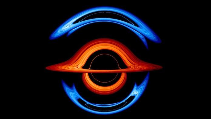 एक काले रंग की पृष्ठभूमि पर प्रकाश की शानदार नीली और लाल आर्क्स।